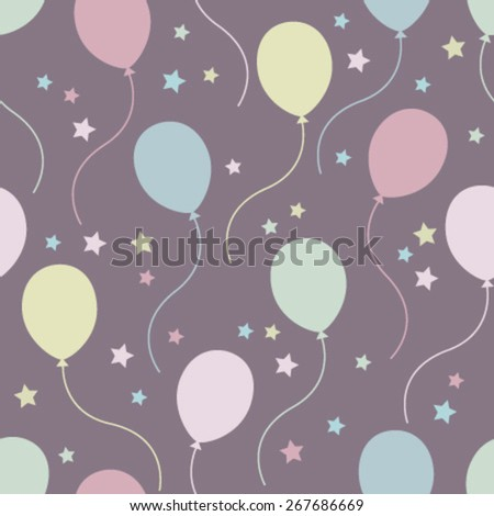colorful balloons on purple seamless pattern - stock vector