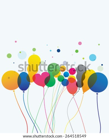 Colorful balloons  on white backdrop - party decoration - stock vector