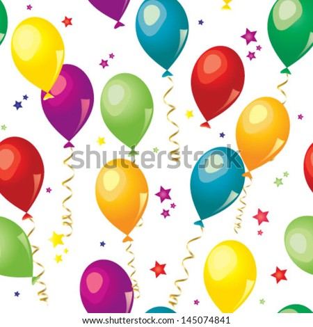 Colorful balloons seamless pattern over white background - stock vector