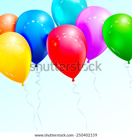 Colorful balloons. Vector illustration for congratulatory cards.