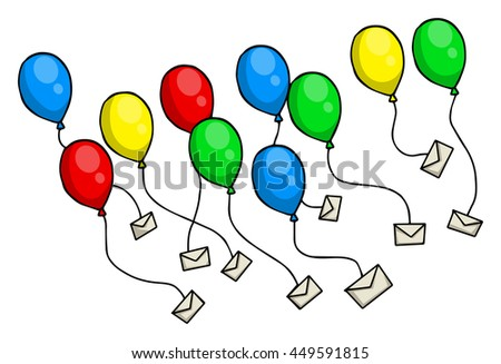 Colorful balloons with letters, envelopes attached to them, flying, isolated on white, vector illustration - stock vector