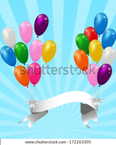colorful balloons with ribbon on striped background vector template - stock vector