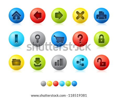Colorful Balls - Internet Icons Icon set in EPS 8 format with high resolution JPEG EPS file contains six color variations in different layers. - stock vector