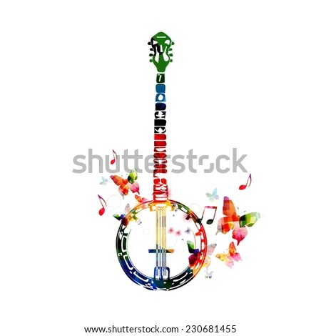 Colorful banjo design - stock vector