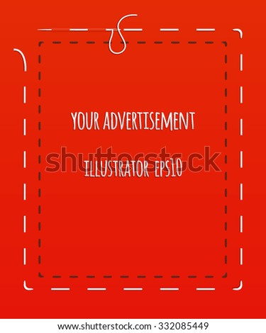 Colorful banner advertising sewing, sewing workshop, hand-made. Against the background of red cloth, white and black stitching, thread, needle. illustration - stock vector