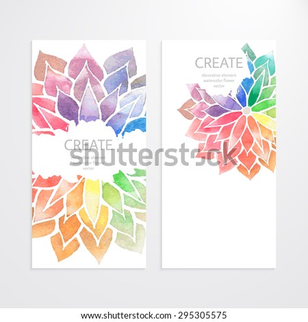 Colorful banners, flyers, brochures, templates of design. Vector cards with watercolor rainbow flowers on white background. Art concept. Flower crop, but you can find it in my portfolio