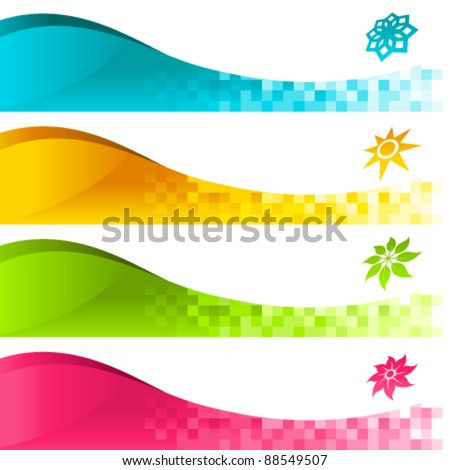 Colorful Banners Icons - stock vector
