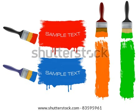 Colorful banners with paintbrushes. Vector. - stock vector