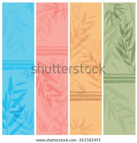Colorful banners with the tree branches. Vector illustration. - stock vector