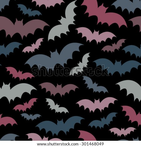 colorful bats on black seamless pattern - stock vector