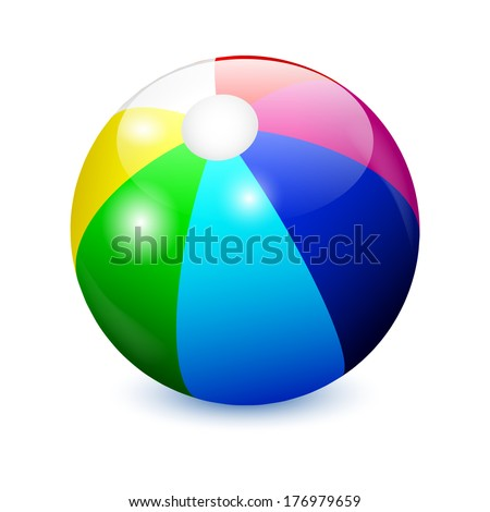 Colorful Beach Ball isolated on white background  - stock vector