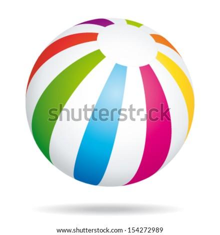 Colorful beach ball. Summer game. Vector icon. - stock vector