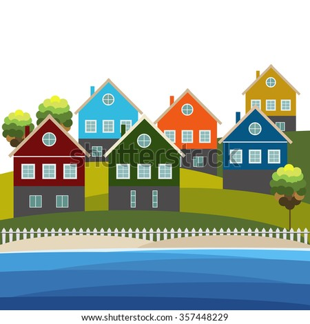 Colorful Beach Houses For Sale/ Rent. Real Estate Concept - stock vector
