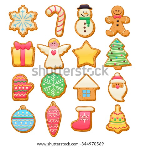 Colorful beautiful Christmas cookies icons set. Sweet decorated new year backings - gingerbread man star santa snowflake christmas tree ball sock ant other holiday symbols. - stock vector