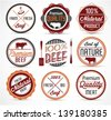 Colorful Beef Badges and Labels in Vintage Style - stock photo