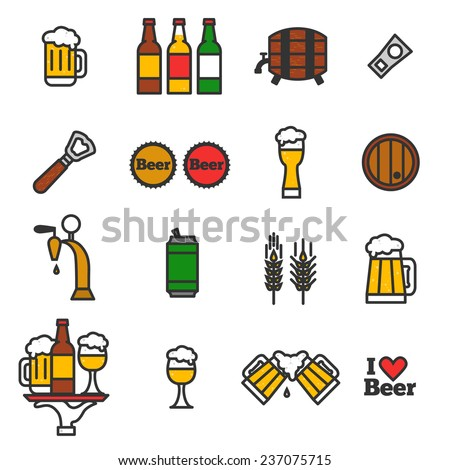 Colorful beer icons set. Drink labels or signs. Vector symbols and design elements for bar, restaurant, pub or cafe. Craft beer illustrations. - stock vector