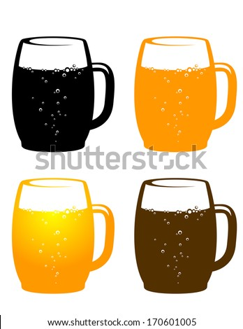 colorful beer mugs on white background - stock vector
