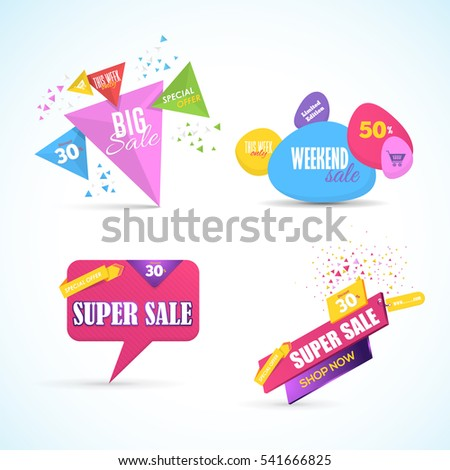 Colorful Big and Super Sale Website Banner Collection. Vector Elements, Web Layout Ad Illustration. Multicolored Business Advertisement Design, Gift Voucher, Creative Different Geometric Shapes Set