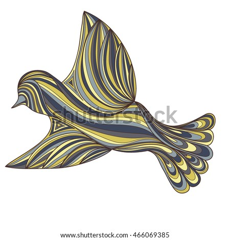 colorful bird isolated on white background. colored contour of the lines. zenart stylized. doodle outline