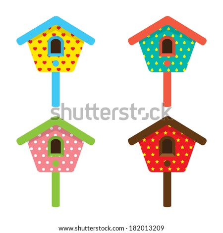 Colorful Birdhouses Vector Illustration - stock vector