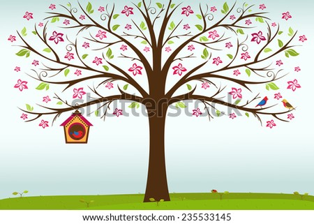 Colorful birds and birdhouse on tree branch vector/illustration