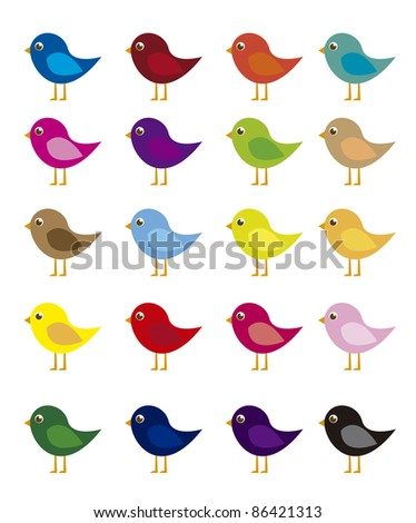 colorful birds cartoon isolated over white background. vector - stock vector
