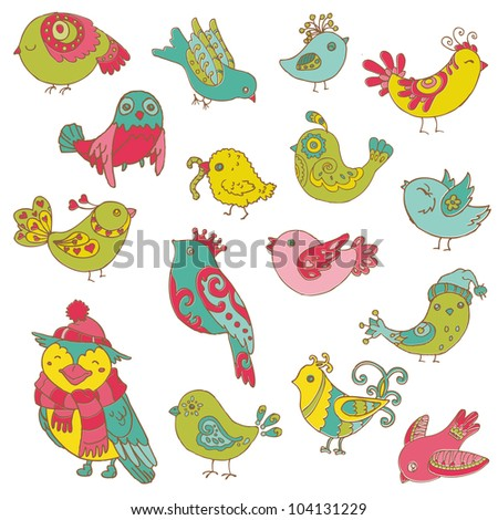 Colorful Birds Doodle Collection - hand drawn in vector - for design and scrapbook - stock vector