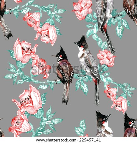 Colorful Birds on pine branch with cones and flowers seamless pattern on gray background vector illustration - stock vector