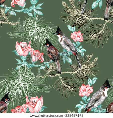 Colorful Birds on pine branch with cones and flowers seamless pattern on green background vector illustration - stock vector