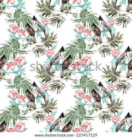 Colorful Birds on pine branch with cones and flowers seamless pattern on white background vector illustration - stock vector