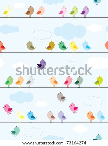 Colorful birds sitting on wires seamless pattern for kids - stock vector