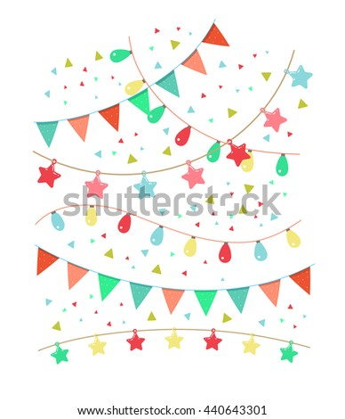 Colorful birthday and party vector decoration. Garland set. - stock vector