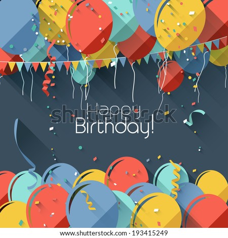 Colorful birthday background in flat design style  - stock vector