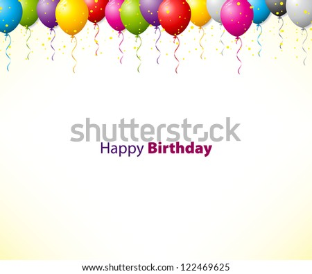 Colorful birthday background with balloons - stock vector