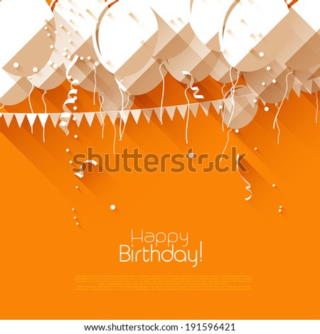 Colorful birthday background with balloons and confetti in flat design style  - stock vector
