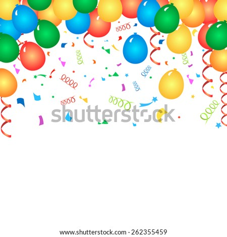 Colorful birthday balloons and confetti - vector background - stock vector