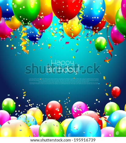 Colorful birthday balloons - background with place for text - stock vector