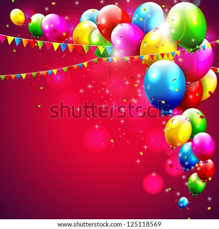 Colorful birthday balloons on red background - stock vector