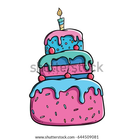 Colorful Birthday Cake Outline Using Doodle Stock Photo Photo