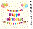 colorful birthday card - stock vector