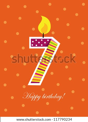 Colorful Birthday Card Seven Years Old Stock Vector Royalty Free