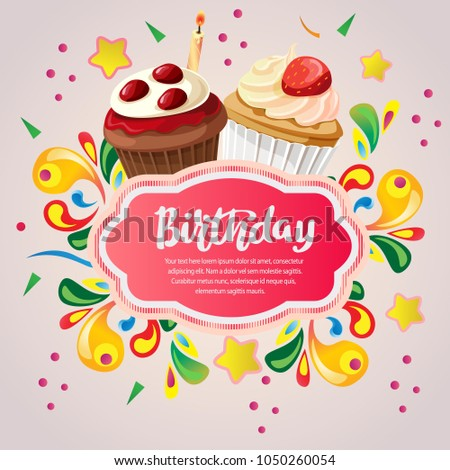 Colorful Birthday Card Berry Cupcakes Stock Vector 2018 1050260054