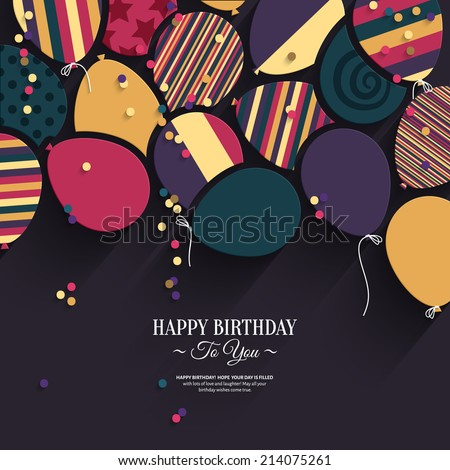 Colorful birthday card with paper balloons and wishes. - stock vector