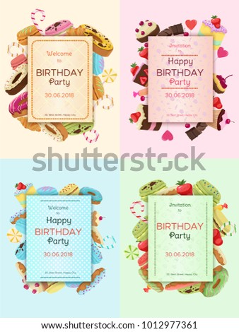 Colorful birthday party invitation cards desserts stock vector colorful birthday party invitation cards with desserts pastry baking and sweet products vector illustration stopboris Image collections
