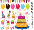 Colorful Birthday Set - stock photo