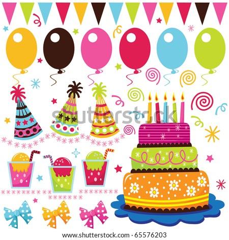 Colorful Birthday Set - stock vector