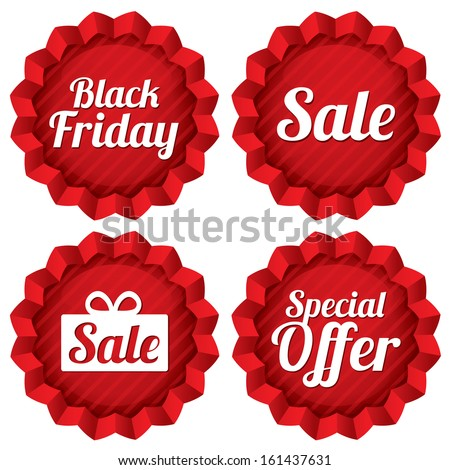 Colorful black friday, sale, special offer labels set. Red tag stars. Icons for special offer. - stock vector