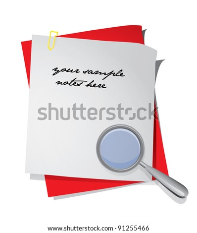 Colorful blank piece of papers attached with staple and with magnifying glass, vector illustration