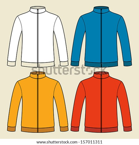Colorful blank sweatshirts template - stock vector