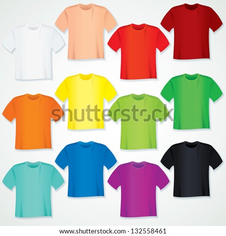 Colorful Blank T Shirt Collection. Vector Templates.
